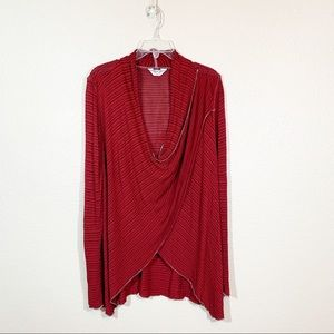 Hard Tail Forever Double Draped Wrap LS Top Red L